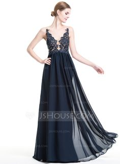 [US$ 146.99] A-Line/Princess V-neck Floor-Length Chiffon Evening Dress With Beading Appliques Lace Sequins