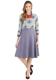 Chambray of Sunshine Skirt. Radiate positivity around the office in this buoyant midi skirt! #blue #modcloth