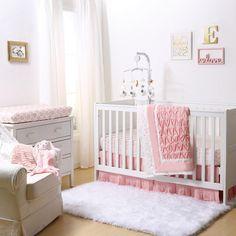 Coral Pleated Crib Bedding Set
