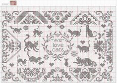 """We love Cats"" Sampler Cross Stitch Freebies, Cross Stitch Samplers, Cross Stitch Charts, Cross Stitch Designs, Cross Stitching, Cross Stitch Embroidery, Embroidery Patterns, Cross Stitch Patterns, Small Cross Stitch"