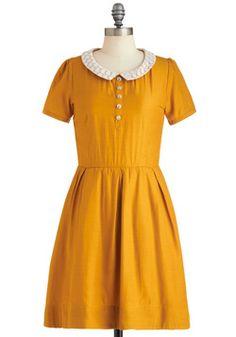"Goldenrod to Happiness Dress, #ModCloth bahaha ""hello i'm five years old!"""