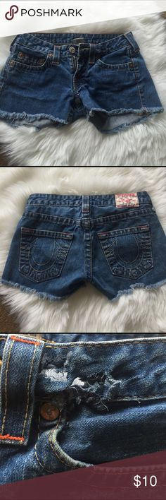True Religion Jorts True a Religion shorts/cut offs. Has a hole that can be patched but otherwise good condition. True Religion Shorts Jean Shorts
