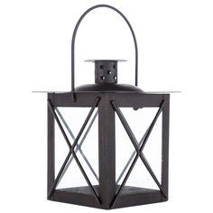 Mini Black Square Metal & Glass Candle Lantern