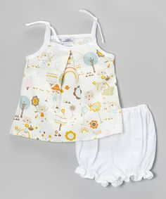 This Beige Kitty Tank & White Ruffle Diaper Cover - Infant by Noa Lily is perfect! #zulilyfinds