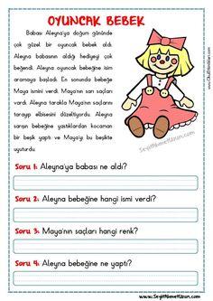 OKUMA ANLAMA METNİ – OYUNCAK BEBEK DOĞUM GÜNÜ Okuma anlama metni Özgün bir çalışma olarak pdf formatında hazırlanmıştır. Sitede bulunan çalışmaları özgün içerik olarak hazırlıyoruz... Science For Kids, Games For Kids, Turkish Lessons, Learn Turkish Language, Classroom Rules, Learning Arabic, Reading Passages, Primary School, Special Education