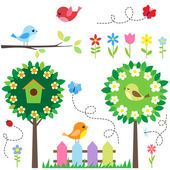 """Buy the royalty-free Stock vector """"Garden set with birds, blooming trees, flowers and insects."""" online ✓ All rights included ✓ High resolution vector fi. Ladybug Cartoon, Blooming Trees, Digital Scrapbook Paper, Scrapbook Kit, Cute Birds, Little Birds, Flower Frame, Free Illustrations, Preschool Crafts"""