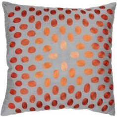 Orange and Gray Down Filled Decorative Throw Pillow