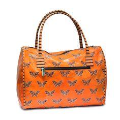 479d8b7ac94e Designer handbag made of handcrafted leather-Orange handbag-Embossed  leather batik art
