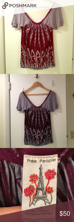 💥FINAL SALE💥 FREE PEOPLE airy boho top Beautiful light and flowy women's Free People blouse size L. light blue pink floral print. Elastic band around waist. Gently used. Sorry, no trades 🚫... Happy poshing 💕! Free People Tops Camisoles