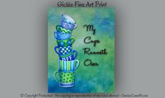 Wall decor kitchen Kitchen artwork Blue & green by ArtFromDenise Kitchen Artwork, Kitchen Decor, Kitchen Stuff, Kitchen Ideas, Cute Coffee Quotes, Blue Green Kitchen, Candy Apple Green, Quick And Easy Crafts, Old Art