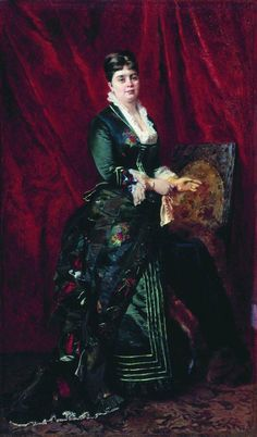 Portrait of a Young Lady in a Green Dress by Konstantin Makovsky, 1879