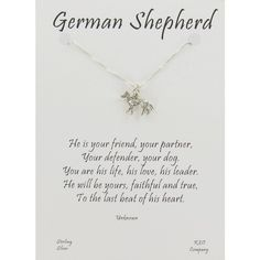German Shepherd Pendant on Card with Inspirational Quote