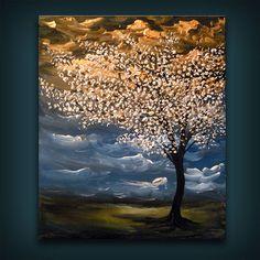 palette knife tree painting 16 x 20 metallic gold cloud texture impressionist original abstract landscape wall decor Mattsart $175.00