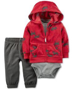 Carter's 3-Pc. Moose-Print Hoodie, Bodysuit & Pants Set, Baby Boys (0-24 months)