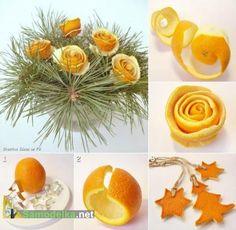 украшения для елки из кожуры апельсина