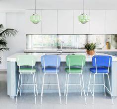 pendants + stools in coastal colors