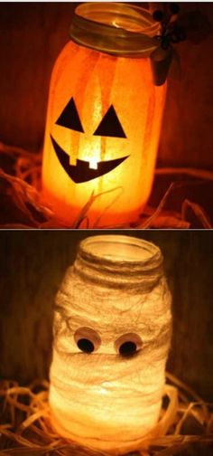 DIY - Decorate an old mason jar for #Halloween and add a battery operated flicker bulb for a spooky effect. #Bulbrite