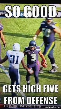 Russell Wilson: So Good, Gets High Five From Defense.   Now there's a leader that's respected, and I'm glad he's on my team!!!  GO HAWKS