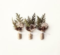 Wedding boutonniere, groomsmen button hole, Woodland rustic boutonniere, natural keepsake, Winter Weddings - FROST