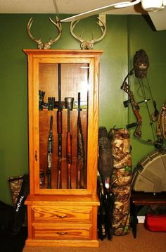 gun cabinet in living room