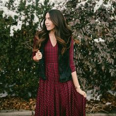 Agnes & Dora Curie dress black and red check New with tags! Brand is Agnes & Dora, looks like a dress I'd find at Anthro  :) oh and it has pockets! Anthropologie Dresses Long Sleeve