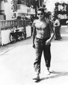 Alain Delon, future French movie star in the Marine nationale, probably 1954.