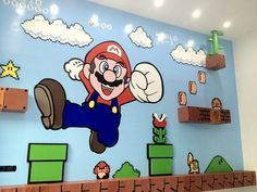 Cool and Amazing Mario Bros Wall Murals Stickers in Small Kids Bedroom Decoration