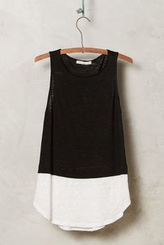 Anthropologie Colorblocked Linen Tank