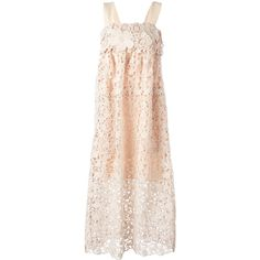 Chloé floral lace sun dress (3,930 NZD) ❤ liked on Polyvore featuring dresses, chloe, floral print sundress, lace dress, sundress dresses, pink dress and ivory sundress