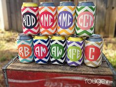 chevron koozie with monogram - choose from 9 different chevron color combos - see pic 2 to view options. $10.00, via Etsy.