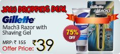 [JAW DROPPING DEAL]Gillette Mach3 Razor with Shaving Gel worth Rs.155 @ Rs. 58 – ShopClues