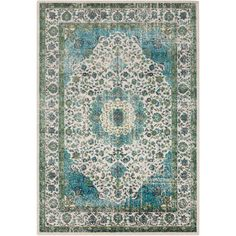 Aberdine Teal and Charcoal Rectangular: 5 Ft 2 In x 7 Ft 6 In Rug - (In Rectangular)