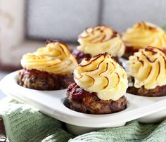 Meatloaf Cupcakes with Mashed Potato Icing from Sticky Gooey Creamy Chewy