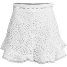 Zimmerman Lovelorn Flutter Short ($375) ❤ liked on Polyvore featuring shorts, short cotton shorts, ruffle trim shorts, frilly shorts, frill shorts and zipper shorts
