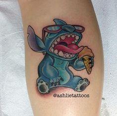 """Sweet """"Stitch"""" tattoo by @ashlietattoos #disneytattoos #disney #disneytattoo #disneytatts #stitch #stitchtattoo #stitchtattoos #liloandstitch #tattooed #tattooedlife #colortattoo"""