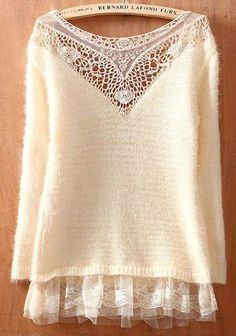To find out about the Beige Round Neck Long Sleeve Lace Hollow Sweater at SHEIN, part of our latest Sweaters ready to shop online today! Look Boho, Lace Sweater, Inspiration Mode, Diy Clothes, Passion For Fashion, Ideias Fashion, Knitwear, Paisley, Autumn Fashion