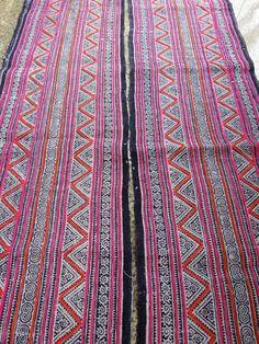 Handwoven batik hemp Hmong Vintage textiles and by dellshop