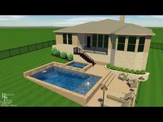 Geometric Pool and Spa Addressing Sloped Yard in Lakeway Texas - YouTube Sloped Yard, Sloped Backyard, Backyard Pool Designs, Small Backyard Patio, Pool Landscaping, Backyard Play, Lakeway Texas, Geometric Pool, Pool Landscape Design