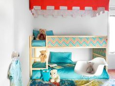 Bunk Bed Upgrade: Fabric Panels. Drew has this IKEA bed I have to do this