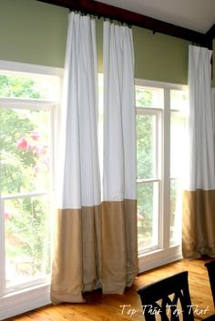 lengthen curtains by adding burlap to bottom from Top This Top That: How to Create a Custom Curtain Panel