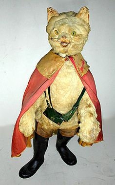 Puss in Boots Clockwork Automaton (late 19th century) - Papier mâché, fur, fabric, plaster, leather and glass