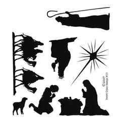 Christmas Nativity Silhouettes Unmounted Rubber Stamp Set of 7 ... - ClipArt Best - ClipArt Best