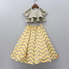 Pre Order: Grey Top With  Zig Zag Print Lehenga Kids Frocks Design, Baby Frocks Designs, Kids Dress Wear, Kids Gown, Wedding Dresses For Kids, Baby Girl Party Dresses, Kids Dress Collection, Fancy Dress Design, Kids Blouse Designs
