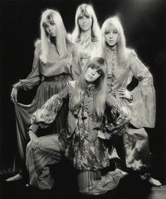 #Sixties | Pattie Boyd; Cynthia Lennon; Maureen Starr (née Cox, later Tigrett); Jenny Fleetwood (née Boyd), by Ronald Traeger, September 1967
