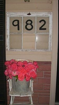 """old windows ~ house number on front porch or put your name, i.e., """"The Smiths"""""""