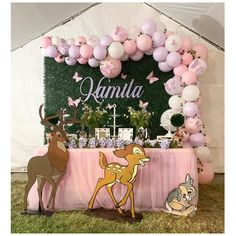 Super cute Bambi/Butterfly garden theme set up we just did! Incorporating both these themes was perfect😍 Custom chracter cut outs went… 1st Birthday Girl Decorations, 1st Birthday Party For Girls, Girl Birthday Themes, Baby Girl Shower Themes, Baby Shower Decorations For Boys, Baby Shower Princess, Baby Birthday, Birthday Ideas, Bambi Disney