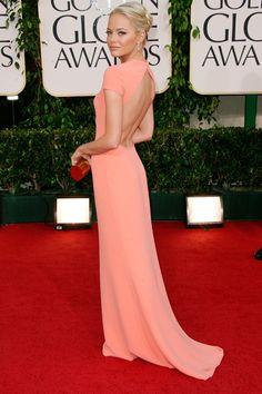emma stone - peach/pink dress - backless #MillionDollarShoppersAndrea