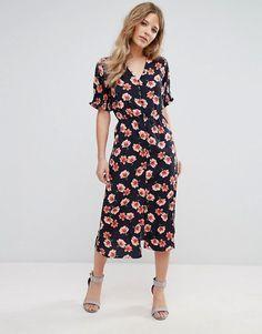 Retro boho 1930s floral dress midi length