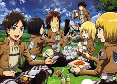 Haha Mikasa's shoving bread into Sasha's mouth!
