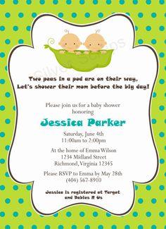 Two Peas in a Pod - Custom Digital Baby Shower Invitation - Twin Boys, Twins, Blue, Green, Aqua, Boy - 5 Designs, Printable, DIY. $15.00, via Etsy.